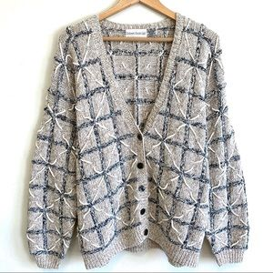 VTG 80s 90s Oversized Grandpa Sweater Chunky Knit